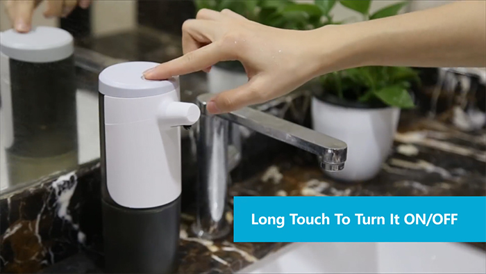 long touch to turn on and off
