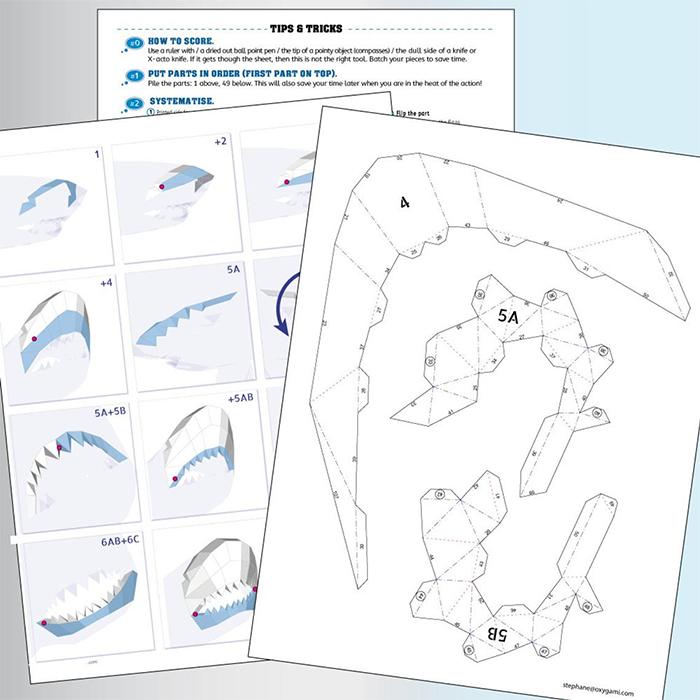 low poly shark origami digital templates
