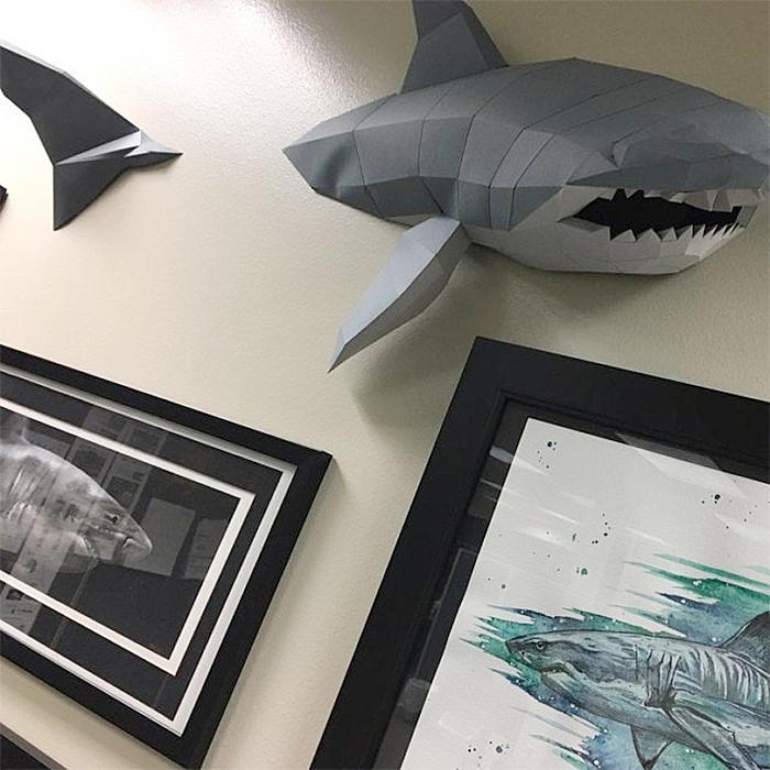 low poly shark paper sculpture