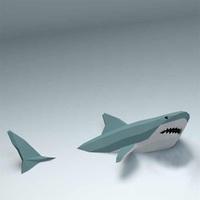 low poly shark wall decor