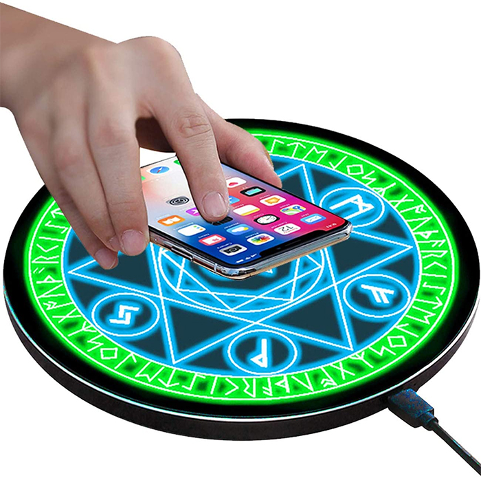 magical wireless charging pad blue green