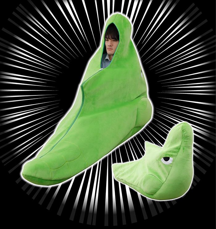 man inside metapod sleeping bag