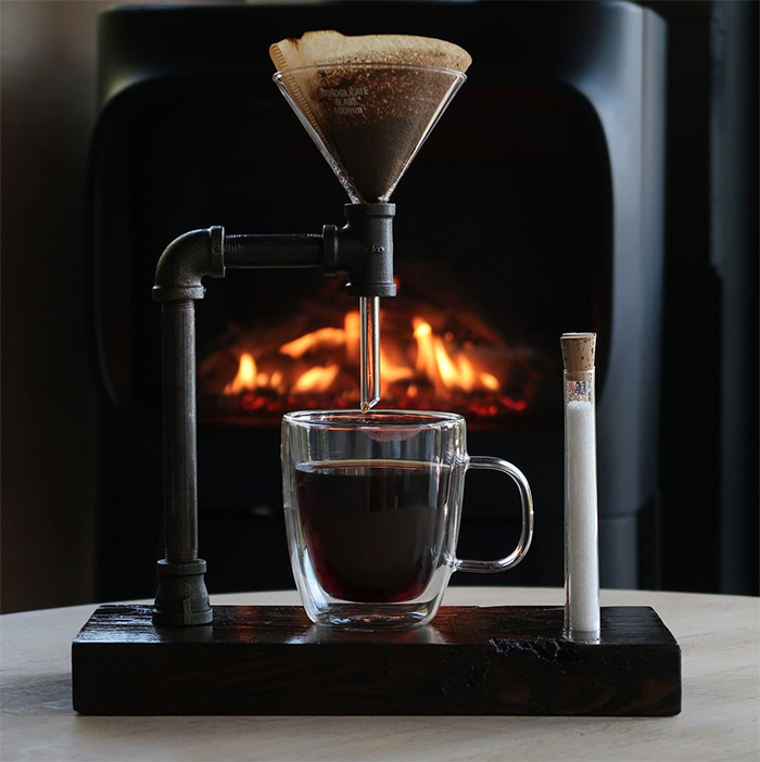 manual brewing wooden coffee maker