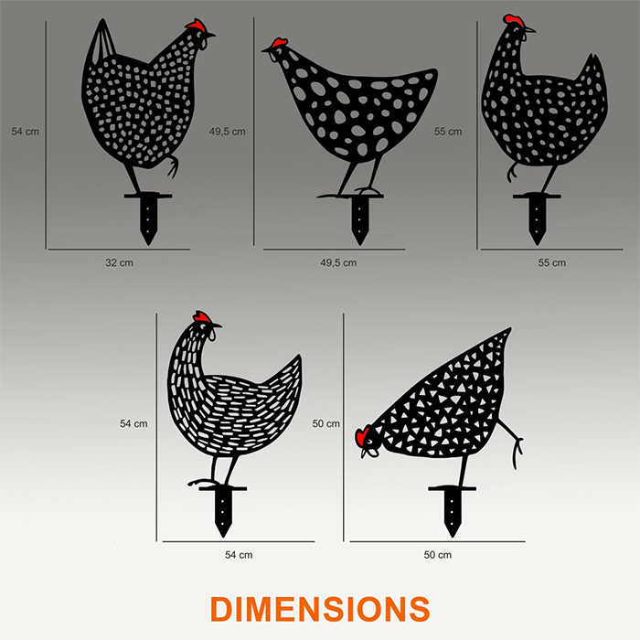 metal chickens lawn decor dimensions
