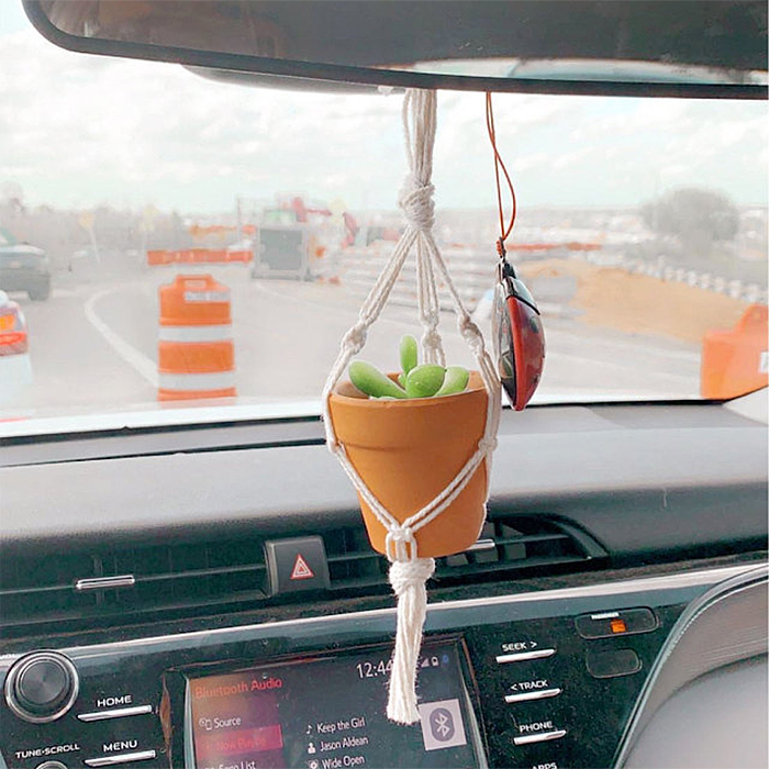 mini macrame car plant hanger cotton cord