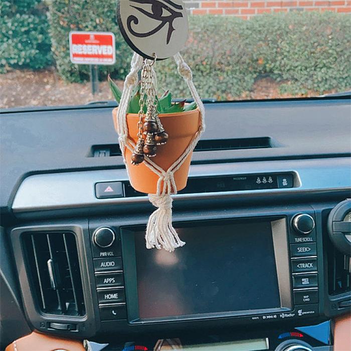 mini macrame car plant hanger faux plant