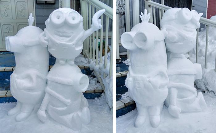 minions snow sculptures