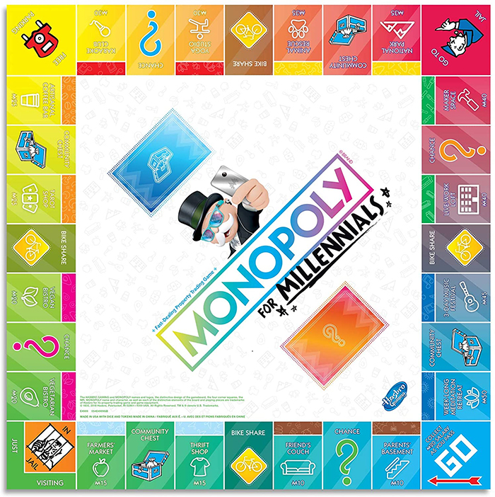 monopoly for millennials gameboard