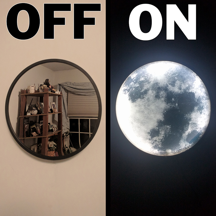 moon mirror night-light on and off comparison