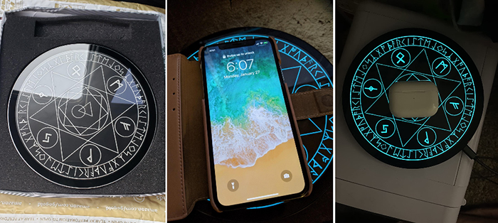 pad-style charger with illuminated graphics