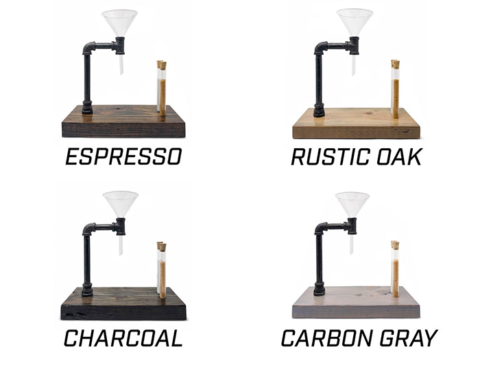 pour over coffee stand wood stains