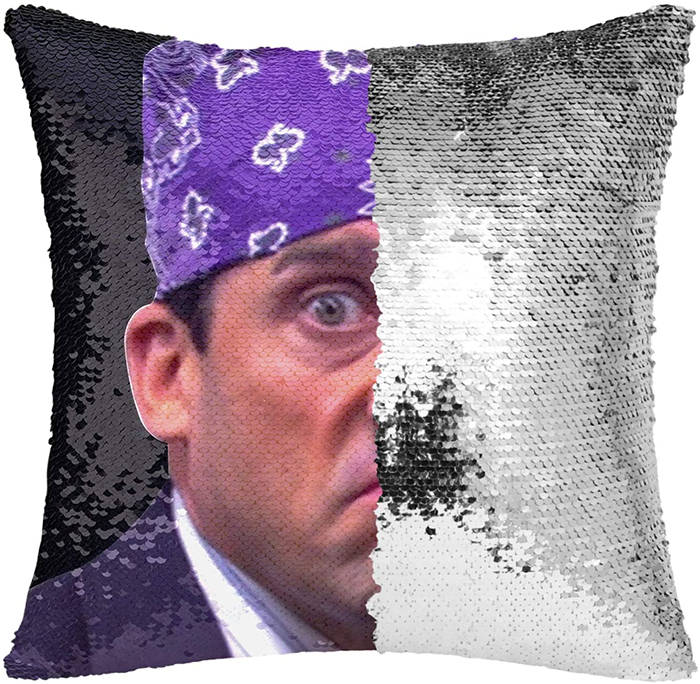 prison mike sequin pillowcase black silver