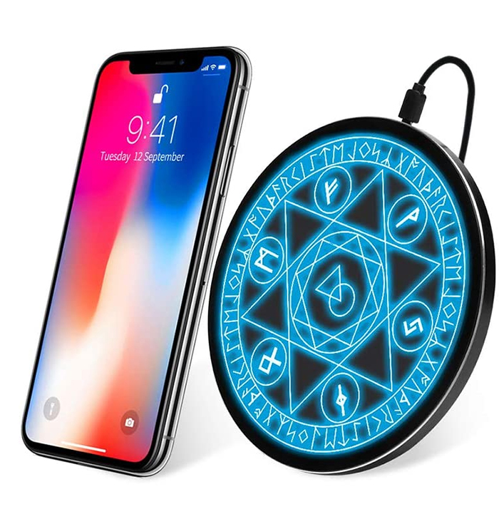 qi certified phone charger light up