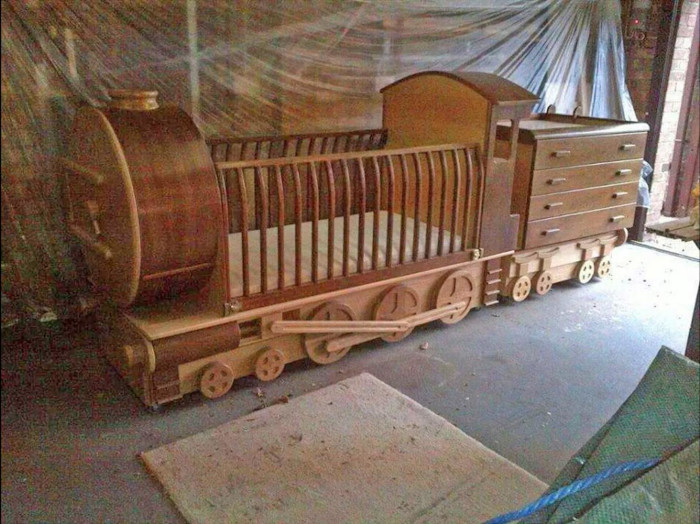 raymond green wooden train crib made from reclaimed wood