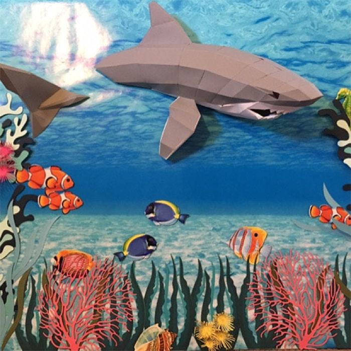 realistic swimming shark paper sculpture