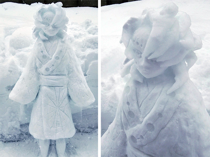spider demon rui snow sculpture