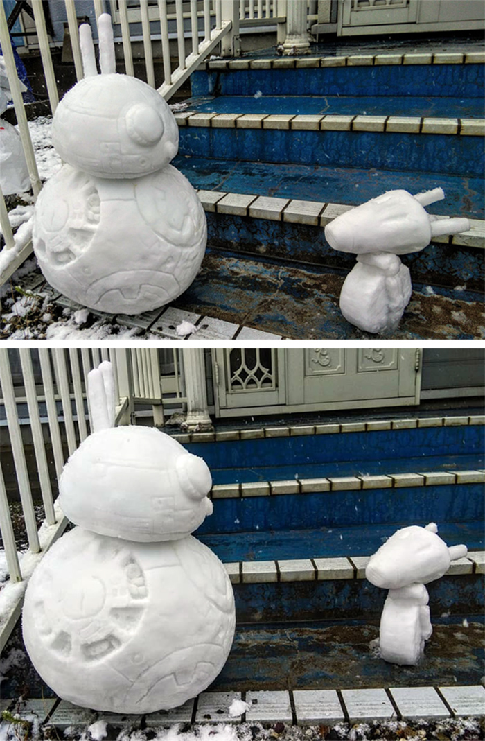 star wars bb8 and d-o sculpted ice figures