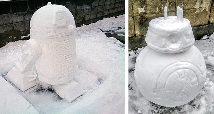 star wars r2d2 and bb8 snow sculptures