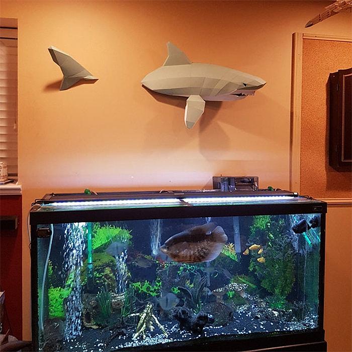 swimming shark paper sculpture