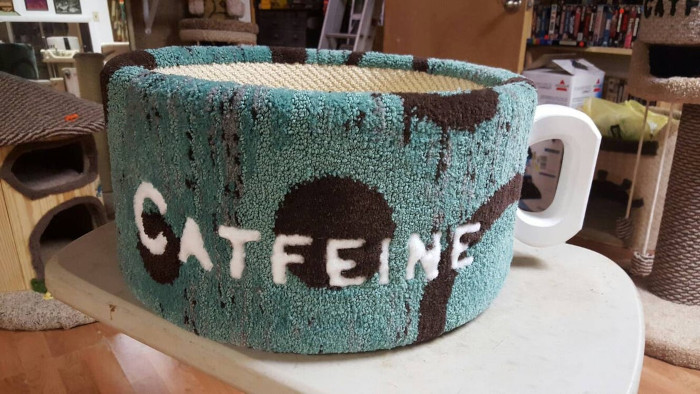 teal and black catfeine coffee mug cat bed