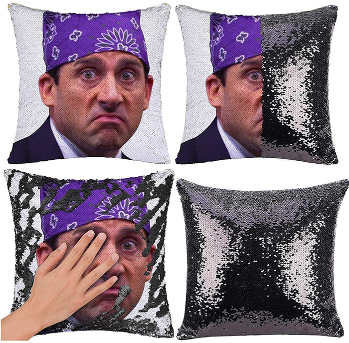 the office inspired mermaid pillow cover black silver