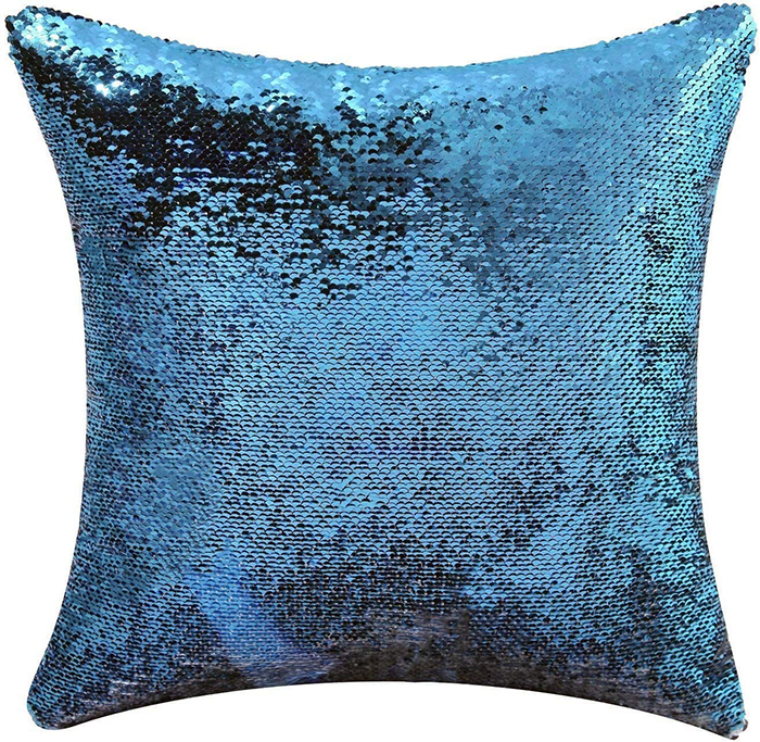 the office inspired mermaid pillow cover blue
