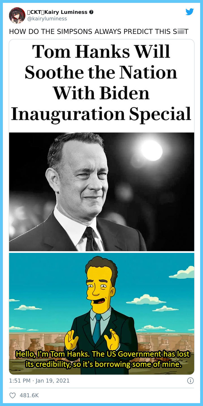 the simpsons prediction tom hanks