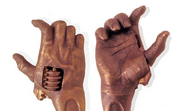 veins creases and nails on the hand shaped wrenches