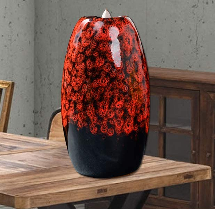 waterfall incense holder red back