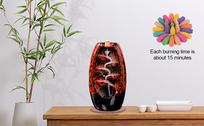 waterfall incense holder red ceramic