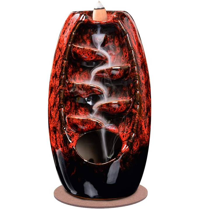 waterfall incense holder red