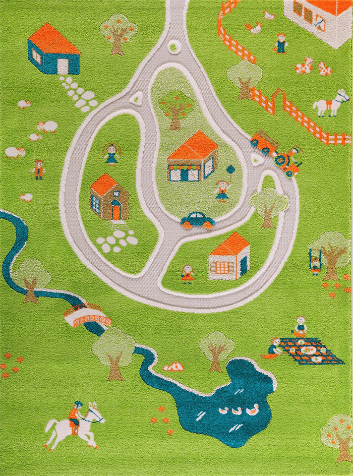 3d farm play rug top view