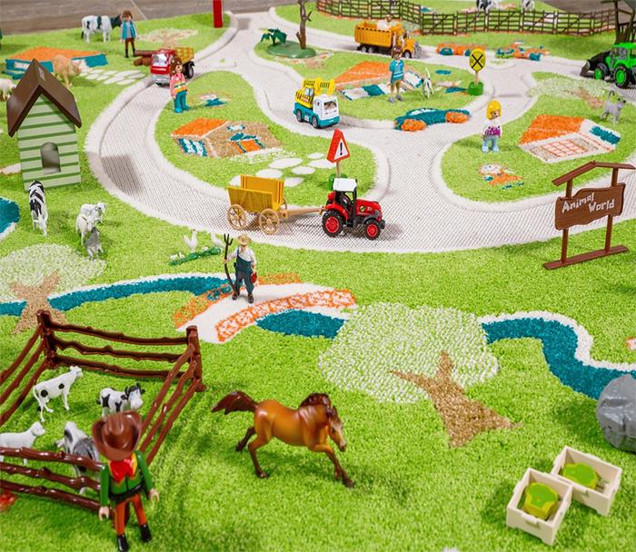3d farm play rug