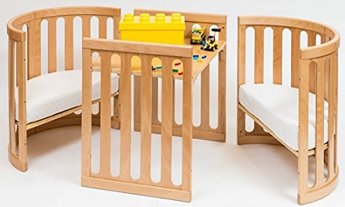 4-in-1 convertible crib in natural as table and chairs