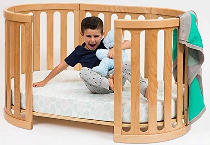 4-in-1 convertible crib in natural as toddler's bed