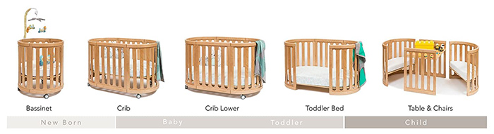 4-in-1 convertible crib in natural configurations