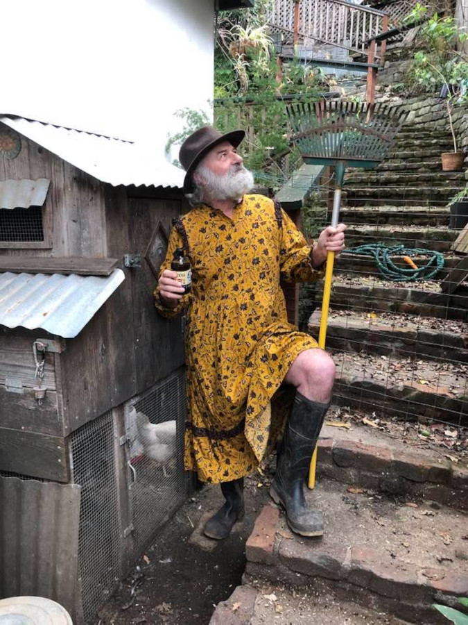 Carol Nall's husband gamely joins the Target dress roasting challenge wearing the yellow frock