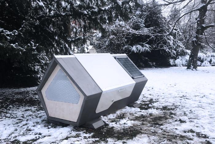 Finished Ulm Nest Sleeping Pod with solar panel