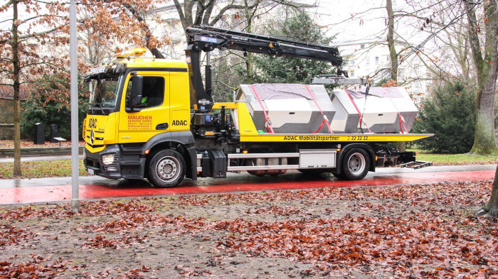 Sleeping Pods being hauled by a truck