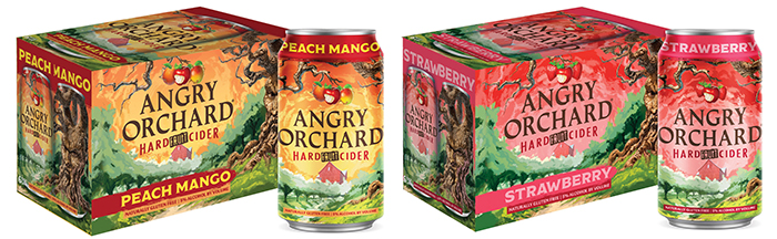 angry orchard hard fruit cider peach mango and strawberry six packs