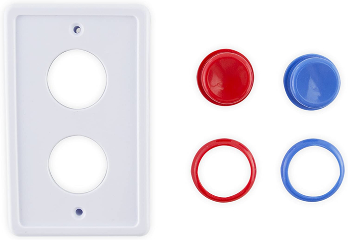 arcade-inspired faceplate push buttons white
