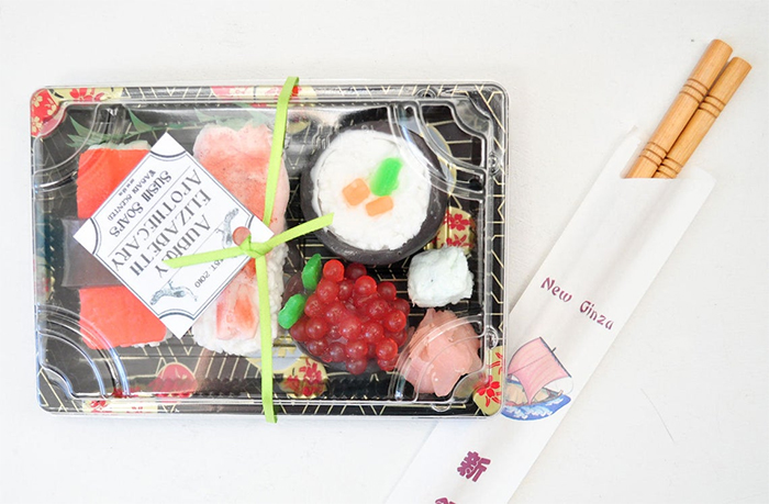 bento box glycerin soaps with chopsticks
