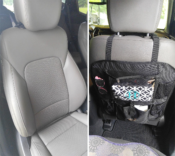 car seat organizer with tablet pocket attached