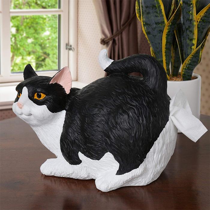cat butt tissue holder black and white