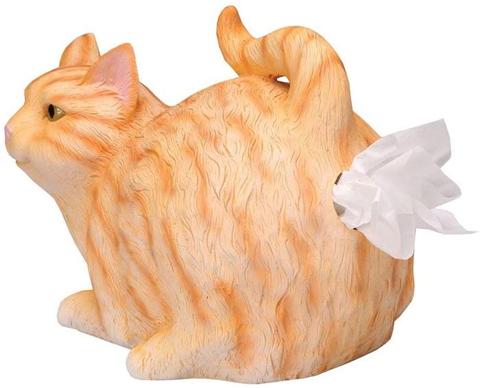 cat butt tissue holder orange tabby