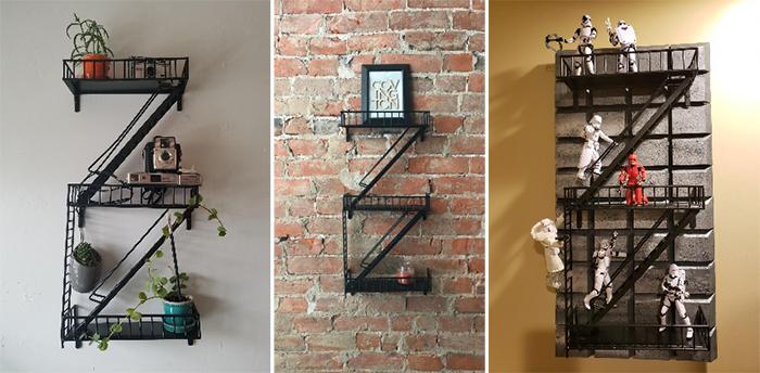 city zigzag ladder shelves