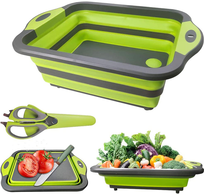 collapsible cutting board with scissors