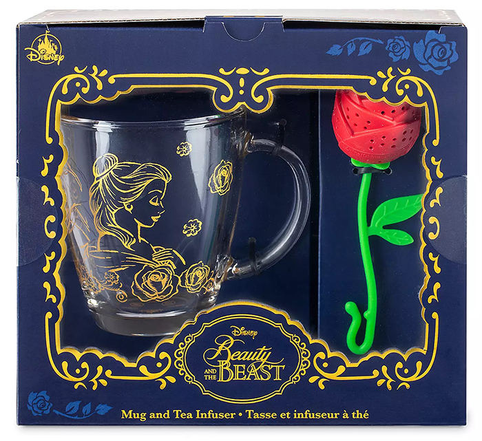 disney beauty and the beast mug and enchanted rose tea infuser set