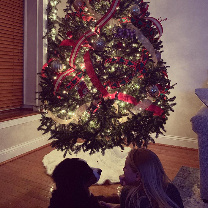 dog sitting in front of christmas tree with owner's girlfriend