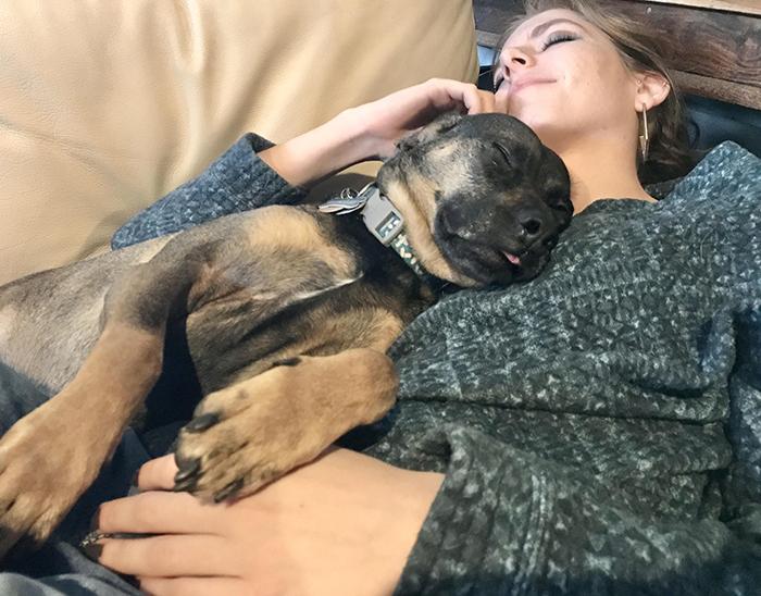 dog sleeping beside owner's girlfriend